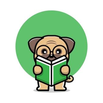 Ładny mops pies czytający książkę ilustracja postaci z kreskówek