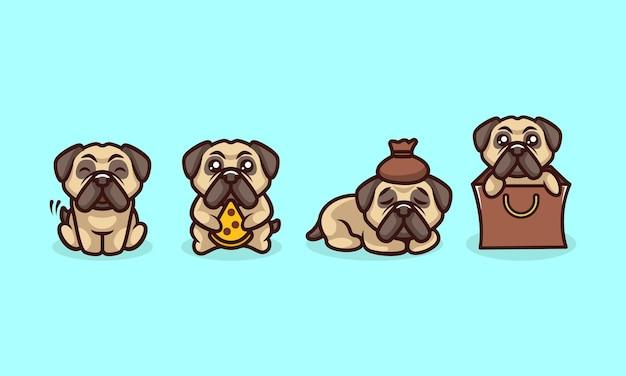 Ładny mops pies kreskówka logo wektor maskotka charakter setdesign ilustracja z izolowanym tle