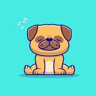 Ładny mops pies śpi ikona ilustracja kreskówka. koncepcja ikona natura zwierząt na białym tle. płaski styl kreskówki