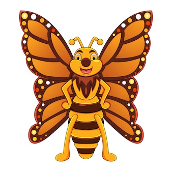 Ładny motyl kreskówka pozowanie