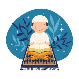 Ładny muzułmański chłopiec siedzi podczas czytania koranu. płaski projekt znaków islamskich.