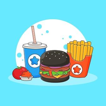 Ładny napój bezalkoholowy, burger, frytki i sos pomidorowy ikona ilustracja. koncepcja ikona fast food. styl kreskówki