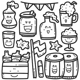 Ładny napoje piwo doodle