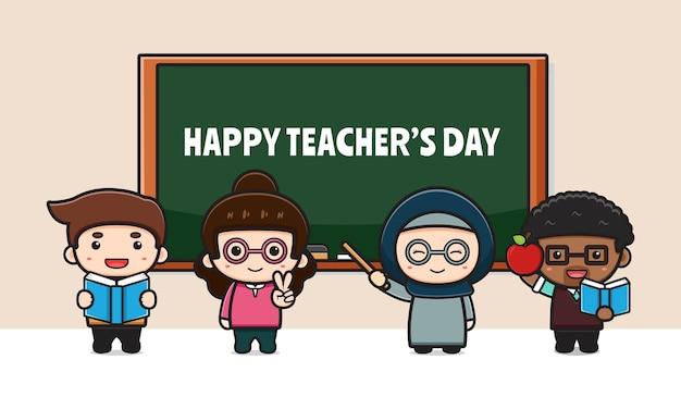 Ładny nauczyciel uroczystości dzień nauczyciela plakat kreskówka ikona ilustracja. zaprojektuj na białym tle płaski styl kreskówki