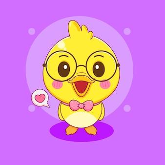 Ładny nerd mała kaczka postać z kreskówki ilustracja