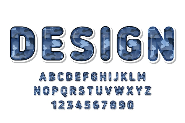 Ładny niebieski alfabet wzór kamuflażu