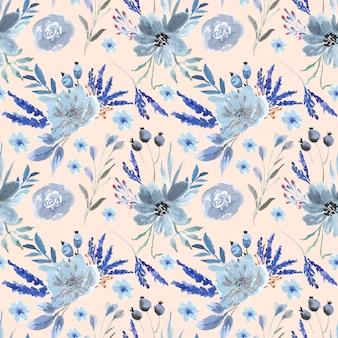 Ładny niebieski kwiat akwarela bezszwowe wzór