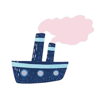 Ładny niebieski parowiec na białym tle. kreskówkowy statek z różową parą w stylu doodle ilustracji wektorowych