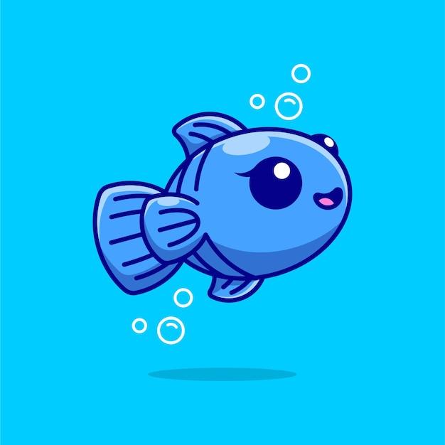 Ładny niebieski projekt kreskówki ryb