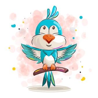 Ładny niebieski ptak kreskówka, ilustracja.