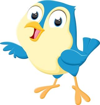 Ładny niebieski ptak kreskówka