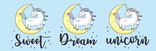 Ładny niebieski szkic jednorożca doodle
