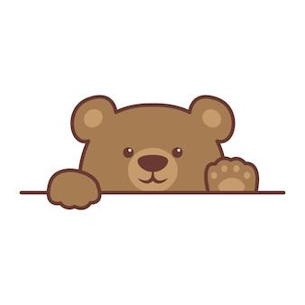 Ładny niedźwiedź brunatny łapy w górę nad wektorem kreskówki