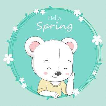 Ładny niedźwiedź chłopiec cześć wiosna kreskówka wyciągnąć rękę