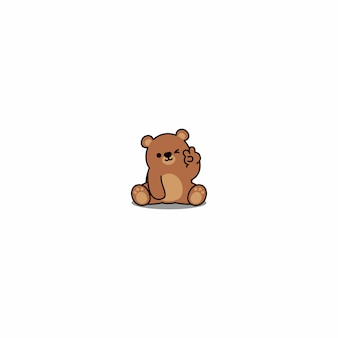 Ładny niedźwiedź mrugając oko kreskówka ikona