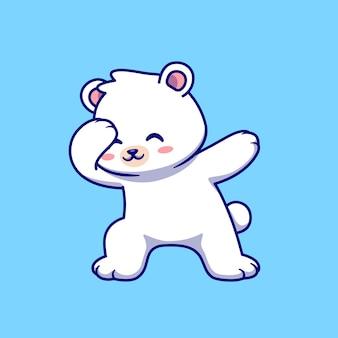 Ładny niedźwiedź polarny dabbing kreskówka wektor ikona ilustracja. zwierzęca natura ikona koncepcja białym tle premium wektor. płaski styl kreskówki