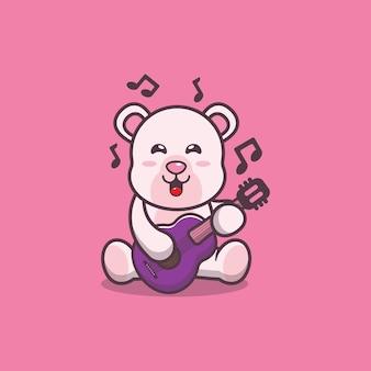 Ładny niedźwiedź polarny grający na gitarze ilustracja kreskówka wektor