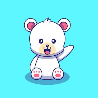 Ładny niedźwiedź polarny macha ręką ilustracja. niedźwiedź polarny maskotka zwierzęta kreskówka znaków ikona koncepcja na białym tle.