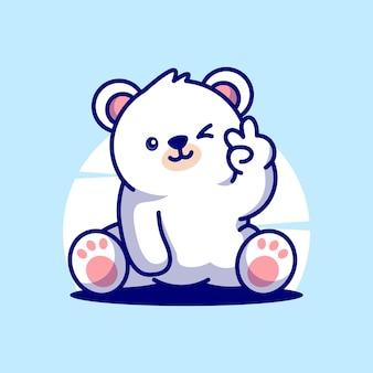 Ładny niedźwiedź polarny maskotka wektor ikona kreskówka postać ilustracja