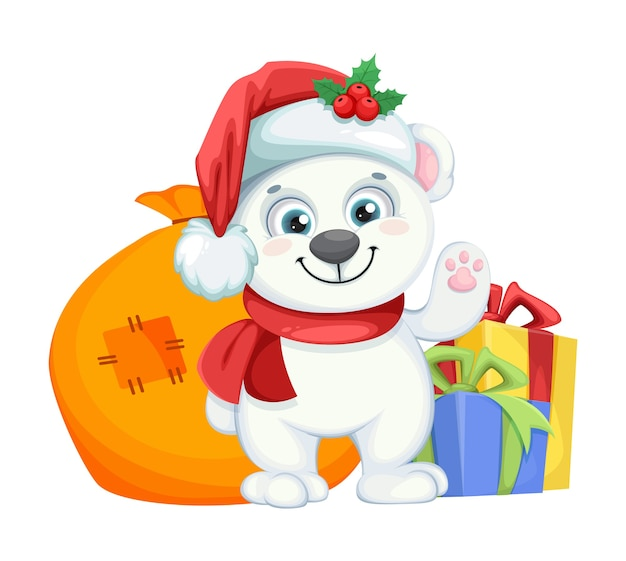 Ładny niedźwiedź polarny postać z kreskówki stojący z prezentami