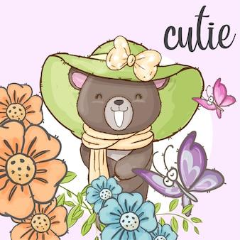 Ładny niedźwiedź w kwiat ramki ręcznie rysowane zwierząt