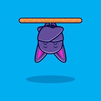 Ładny nietoperz spanie ikona ilustracja kreskówka