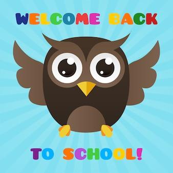 Ładny obraz sowy, aby przywitać uczniów z powrotem do szkoły