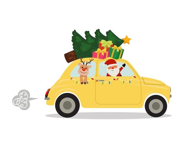 Ładny obrazek przedstawiający świętego mikołaja i renifera w samochodzie retro przewożący choinkę i prezenty.