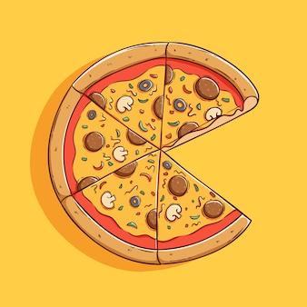 Ładny okrągły kawałek pizzy z kolorowym stylem rysowania dłoni