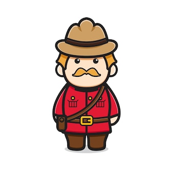 Ładny oldman charakter obchodzony dzień kanady ikona ilustracja kreskówka wektor. projekt na białym tle. płaski styl kreskówek.