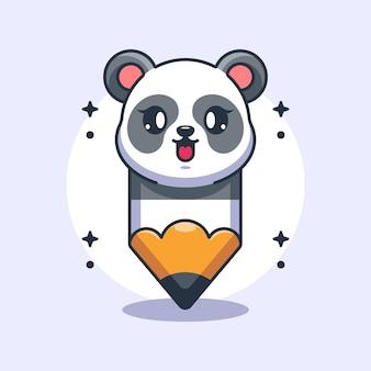 Ładny ołówek kreskówka panda