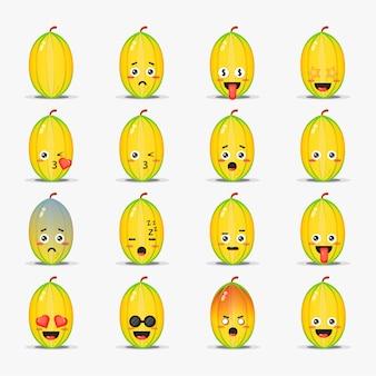 Ładny owoc gwiazdy z zestawem emotikonów