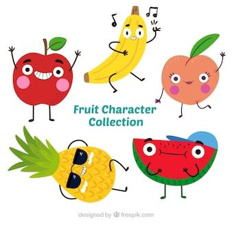 Ładny paczkę pięciu postaci owoce