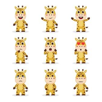 Ładny pakiet postaci żyrafy