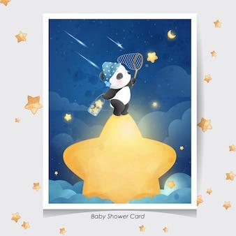Ładny panda doodle z akwarela ilustracja