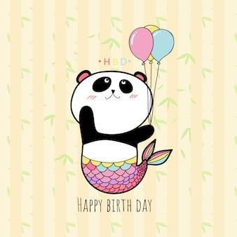 Ładny panda trzymając balon, pastelowy kolor karty hbd