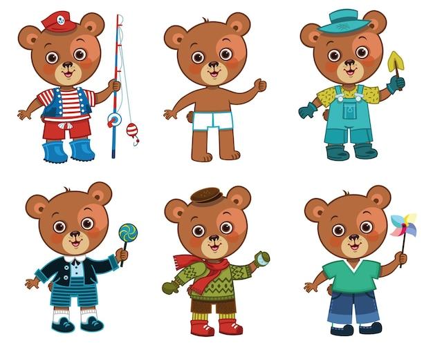 Ładny papier lalka niedźwiedź chłopiec z jego różne ubrania ilustracji wektorowych