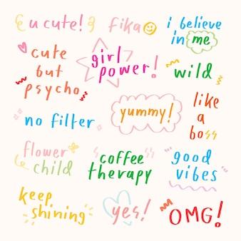 Ładny pastelowy doodle typografii na beżowym tle