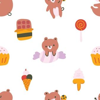 Ładny pastelowy kolor w stylu skandynawskim niedźwiadek słodycze doodle ręcznie rysowane ilustracji