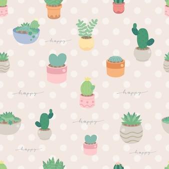 Ładny pastelowy minimalny kaktus i soczysty w doniczce wzór