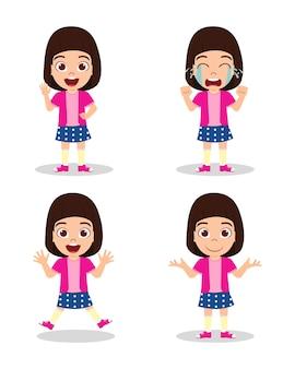 Ładny piękny dzieciak dziewczyna z różnymi wyrażeniami
