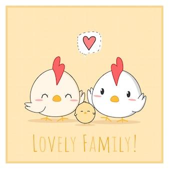 Ładny piękny kurczak kreskówka rodziny doodle kwadratowe karty