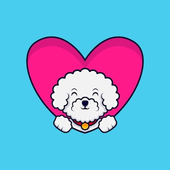 Ładny pies bichon frise macha łapami wewnątrz serca ikona ilustracja kreskówka