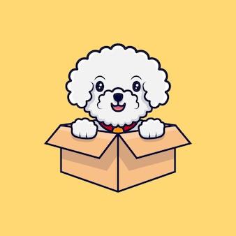 Ładny pies bichon frise siedzi w tekturowym pudełku kreskówka ikona ilustracja