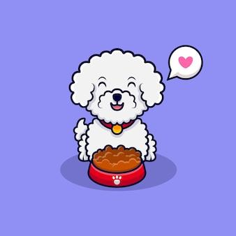 Ładny pies bichon frise uwielbia jeść jedzenie ikona ilustracja kreskówka