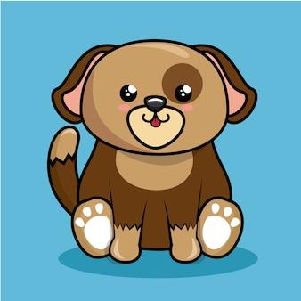 Ładny pies charakter styl kawaii