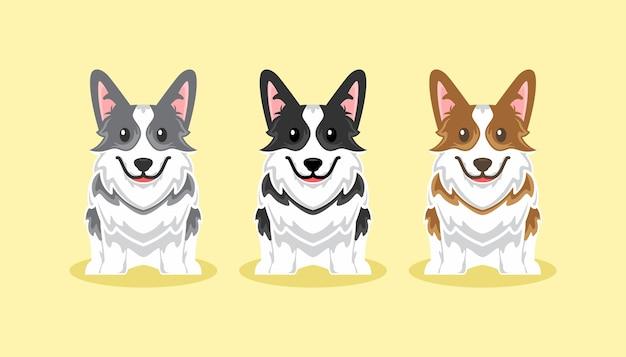Ładny pies corgi ikona kreskówka zestaw ilustracji