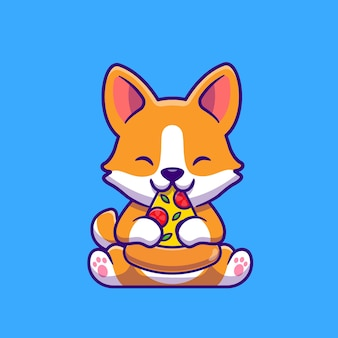 Ładny pies corgi jedzenie pizzy ikona ilustracja kreskówka. koncepcja ikona żywności dla zwierząt na białym tle. płaski styl kreskówki
