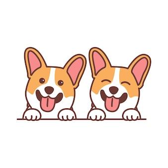 Ładny pies corgi uśmiechający się kreskówka, ilustracji wektorowych
