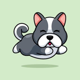 Ładny pies dziecko działa kreskówka